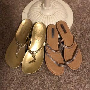 Sandle bundle 2 pair rhinestone embellished size 9